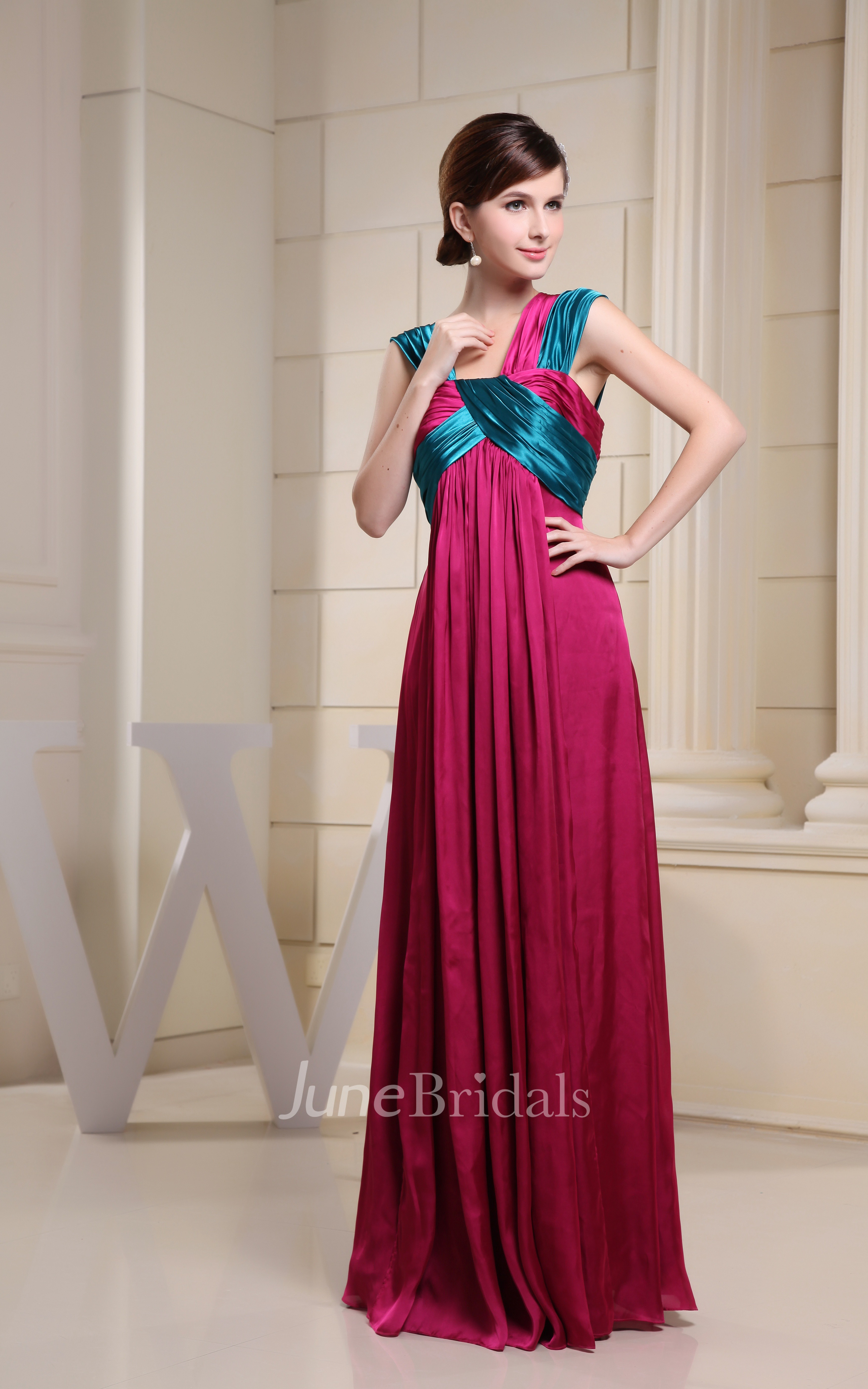 Mute Color Empire Floor Length Dress With Pleats June