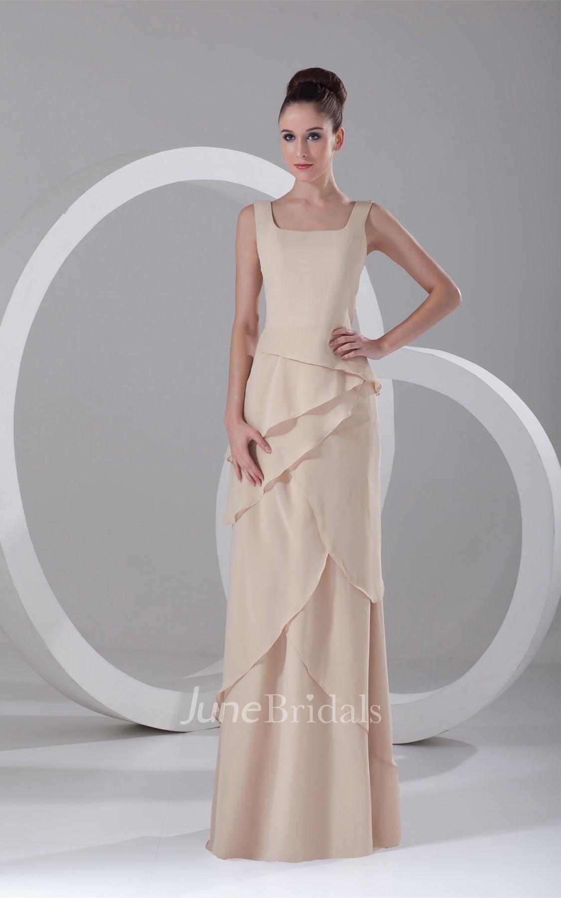 V Neck Chiffon Long Sleeveless Dress With Layered Design