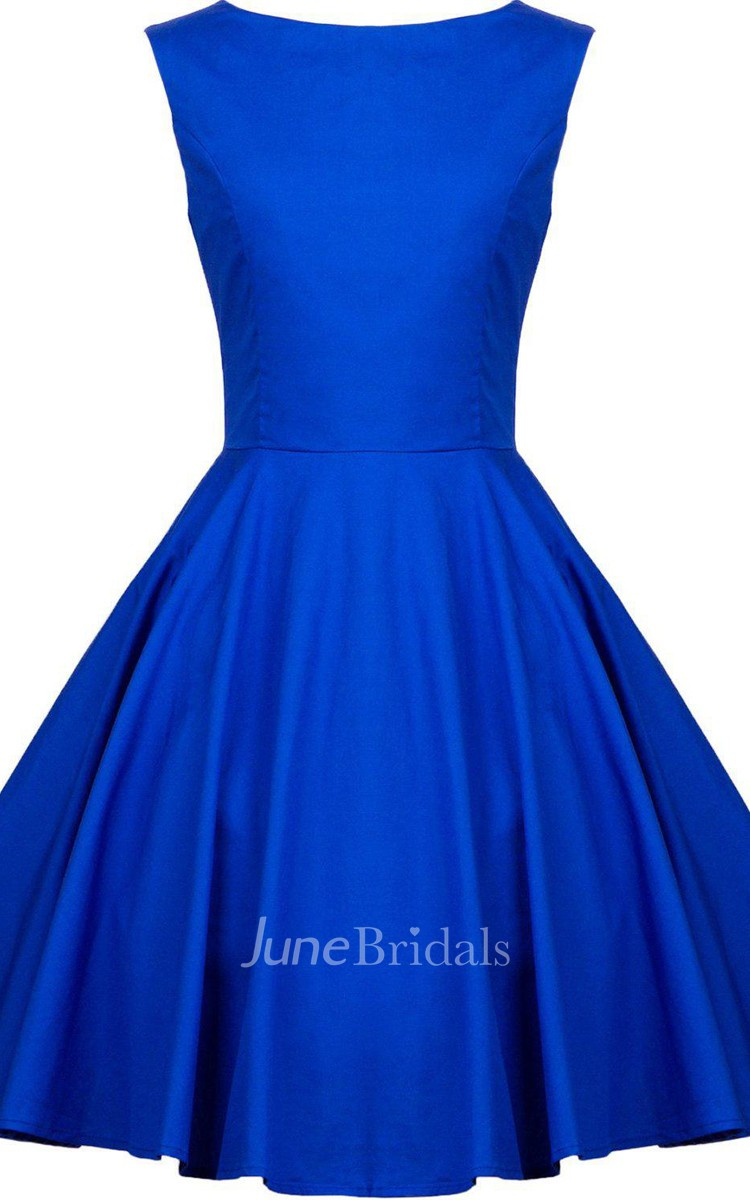 Cap Sleeved A Line Short Dress With Bateau Neck June Bridals