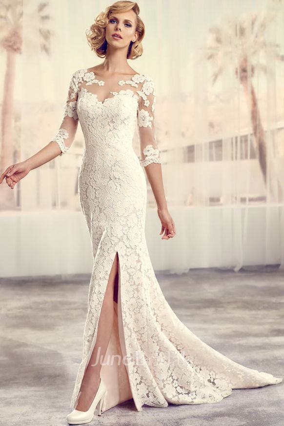 Floor length scoop split front long sleeve lace wedding for Long straight wedding dresses