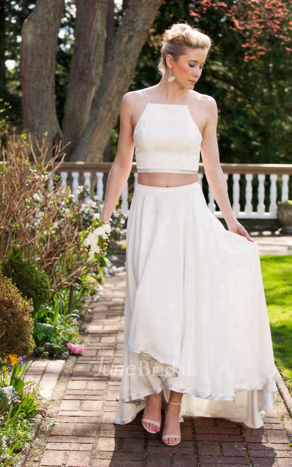Two piece high low chiffon wedding dress with crop top for Cheap 2 piece wedding dresses