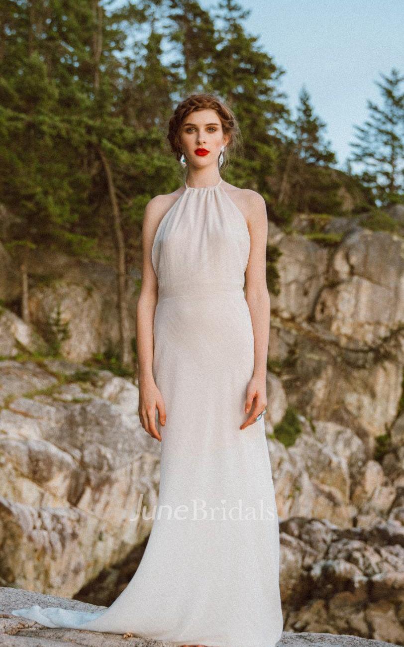 Halter neck sleeveless backless sheath long chiffon for Backless sheath wedding dresses