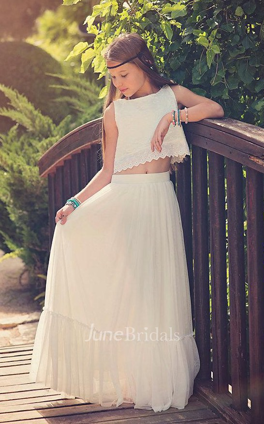 Boho chic two piece tulle junior bridesmaid dress june for Junior wedding guest dresses for summer