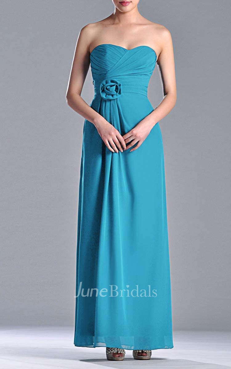 Sweetheart Empire Chiffon Floor Length Dress With 3d