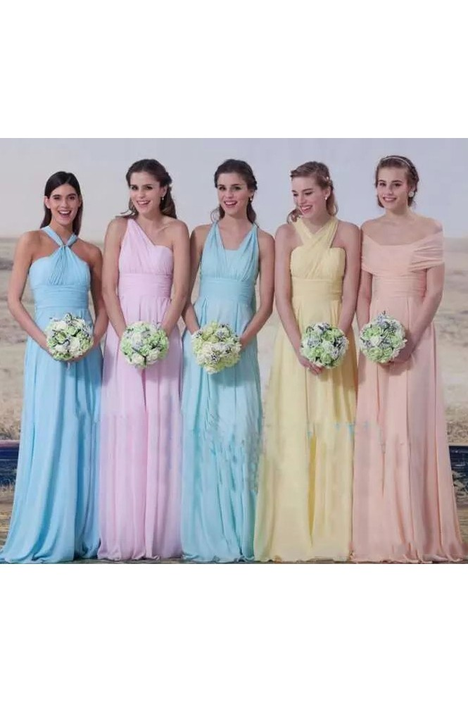 2f57554a803a A-line Halter Sleeveless Floor-length Chiffon Bridesmaid Dress with Pleats  - June Bridals