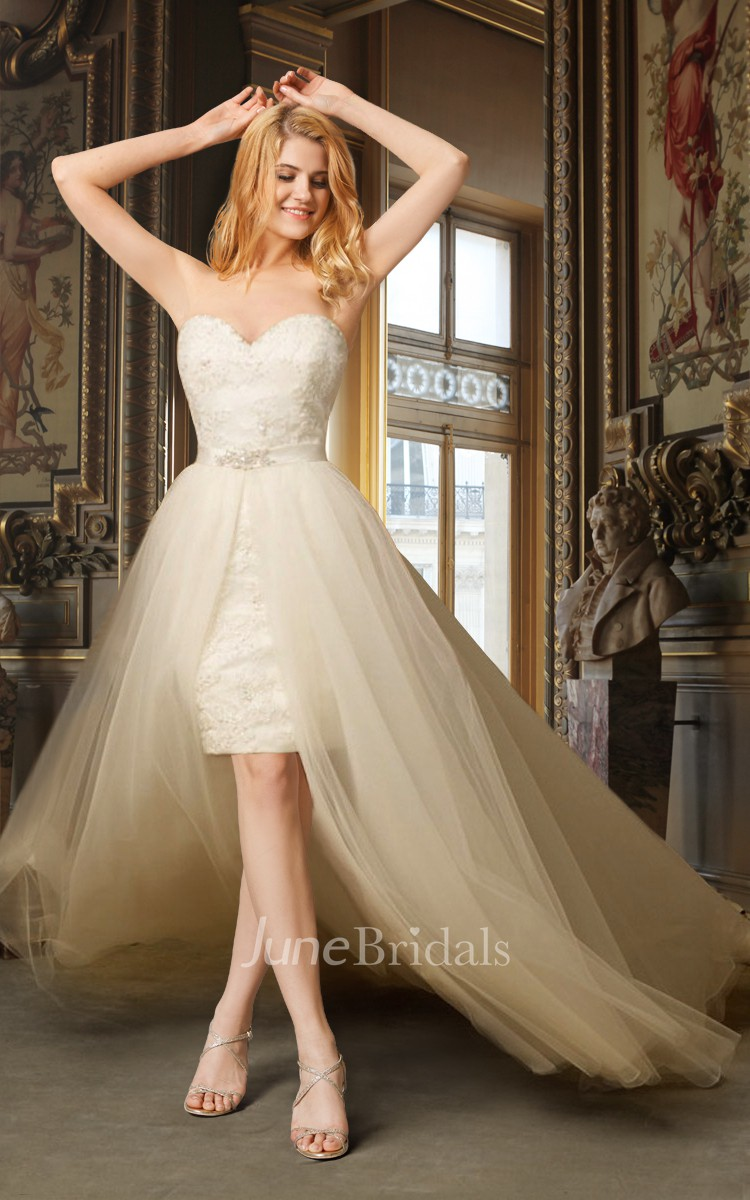 Sheath high low wedding dress with removable skirt june for Wedding dress removable skirt