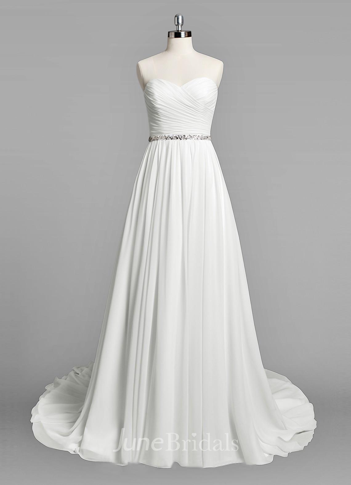 Sweetheart a line chiffon wedding dress with ruching and for A line wedding dress with ruching