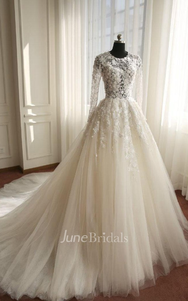 28a13feeee12 A-Line Long Long Sleeve Bell Beading Appliques Flower Zipper Keyhole Tulle  Lace Dress - June Bridals