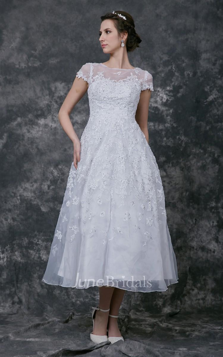 Short sleeve tea length lace wedding dress june bridals for Short lace wedding dress with sleeves