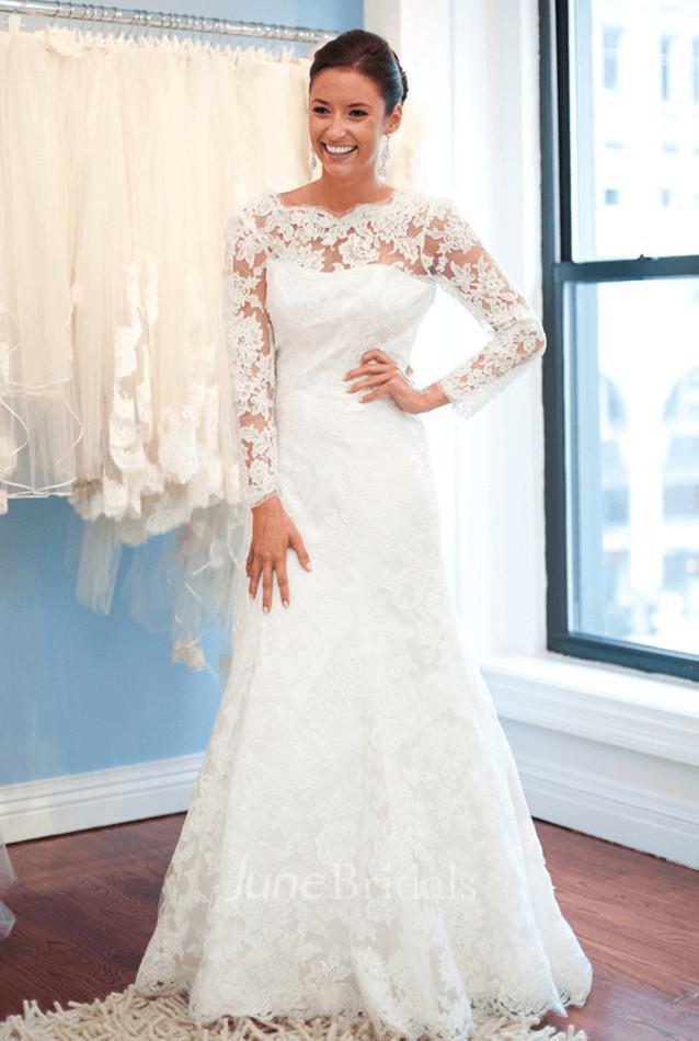 d6240ec2 Elegant Lace Long Sleeve Wedding Dress 2018 White Sweep Train - June Bridals