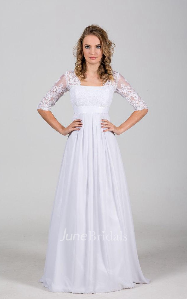 Long square neck a line wedding dress with chantelle lace for Bohemian style wedding dresses for sale