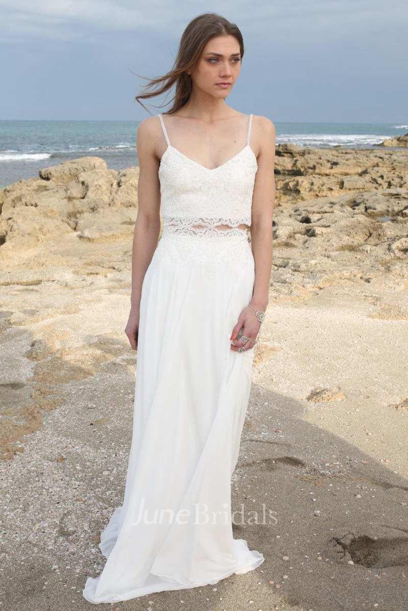 Chiffon tulle sequins lace wedding dress june bridals for Chiffon tulle wedding dress