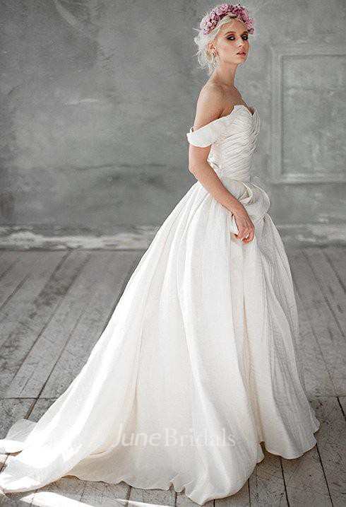 Off shoulder a line taffeta wedding dress with ruching and for Wedding dresses for big busted women