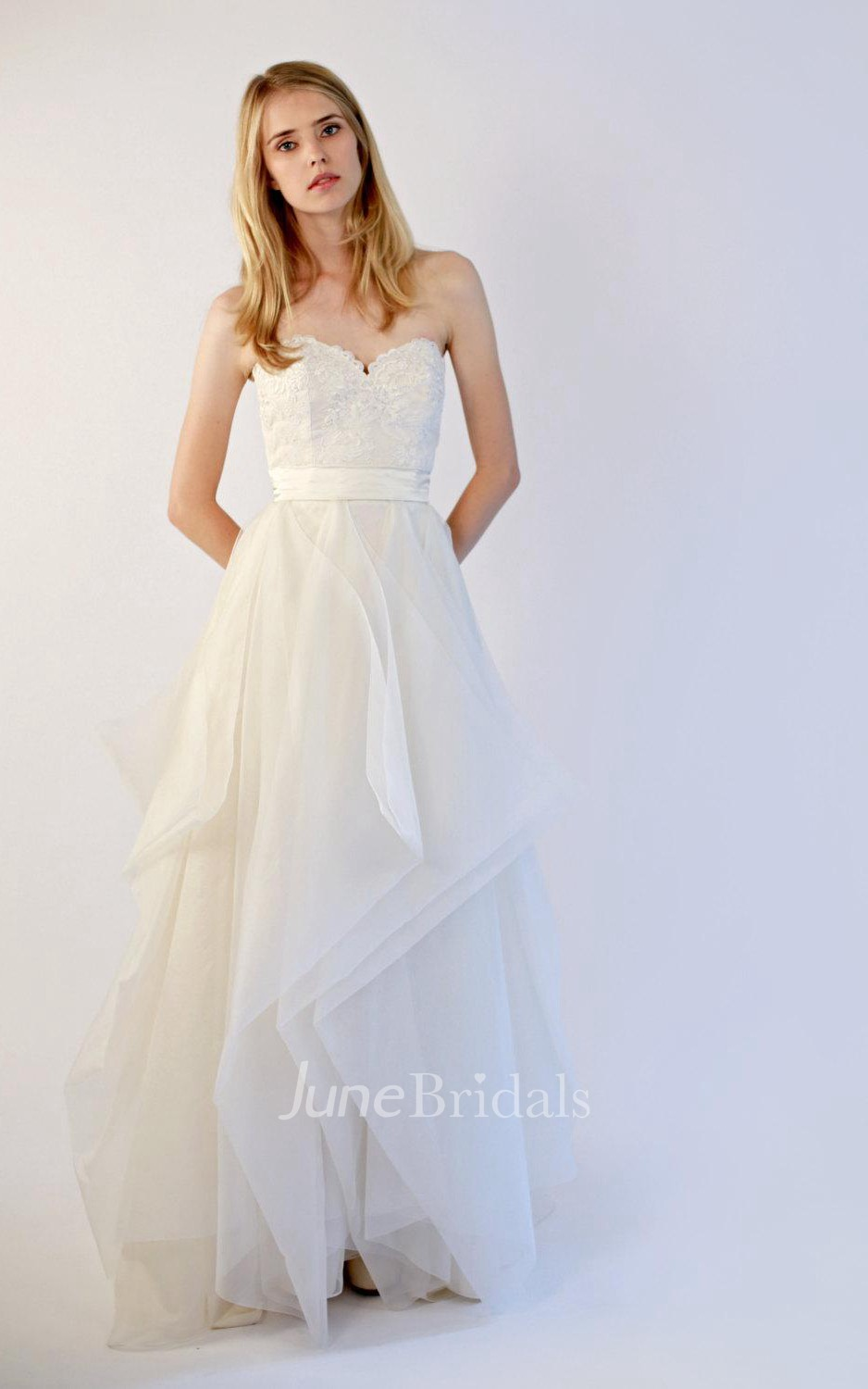 Sweetheart organza and lace wedding dress with sash june for Cheap wedding dress shops