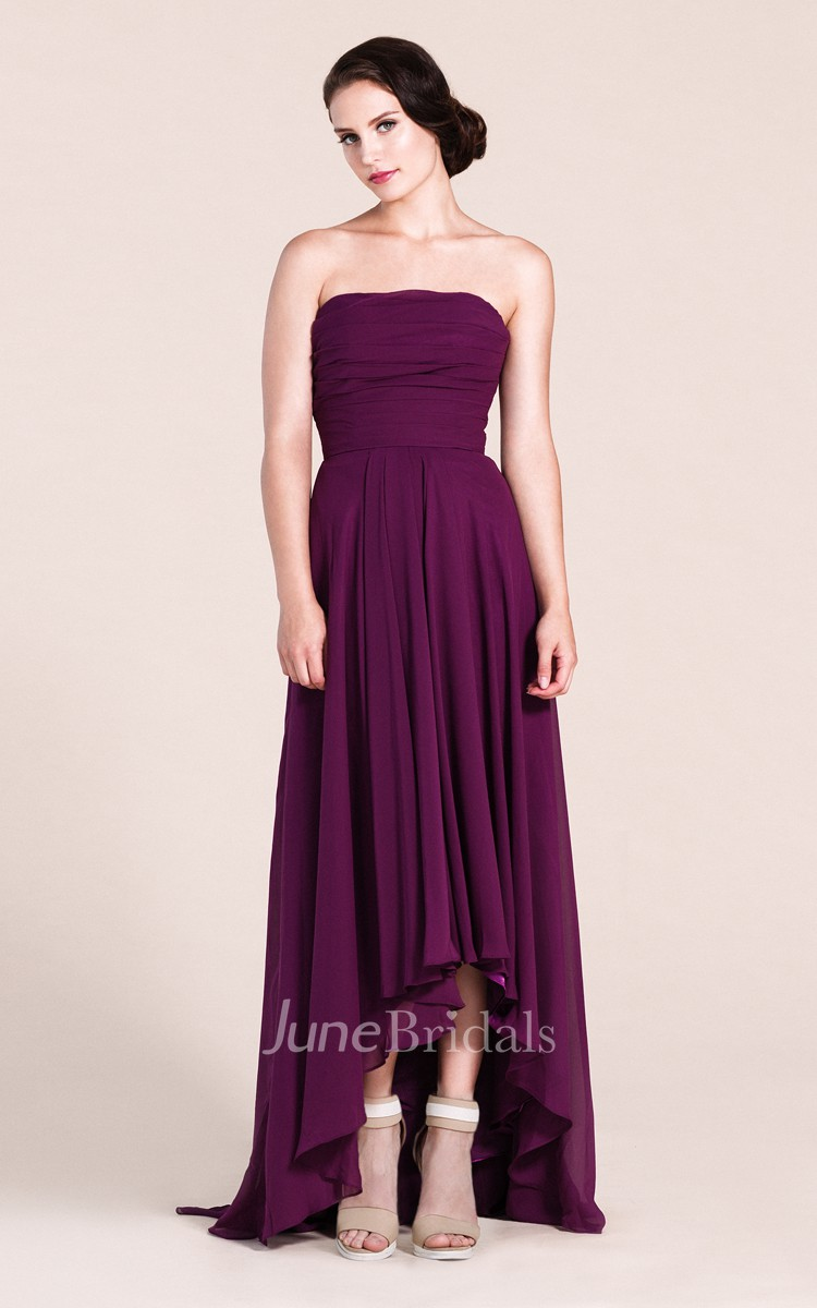 Strapless A-line High-low Long Dress With Ruchings - June Bridals