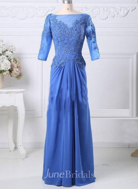 Blue Mother Of The Bride Prom Formal With 3 4 Sleeves