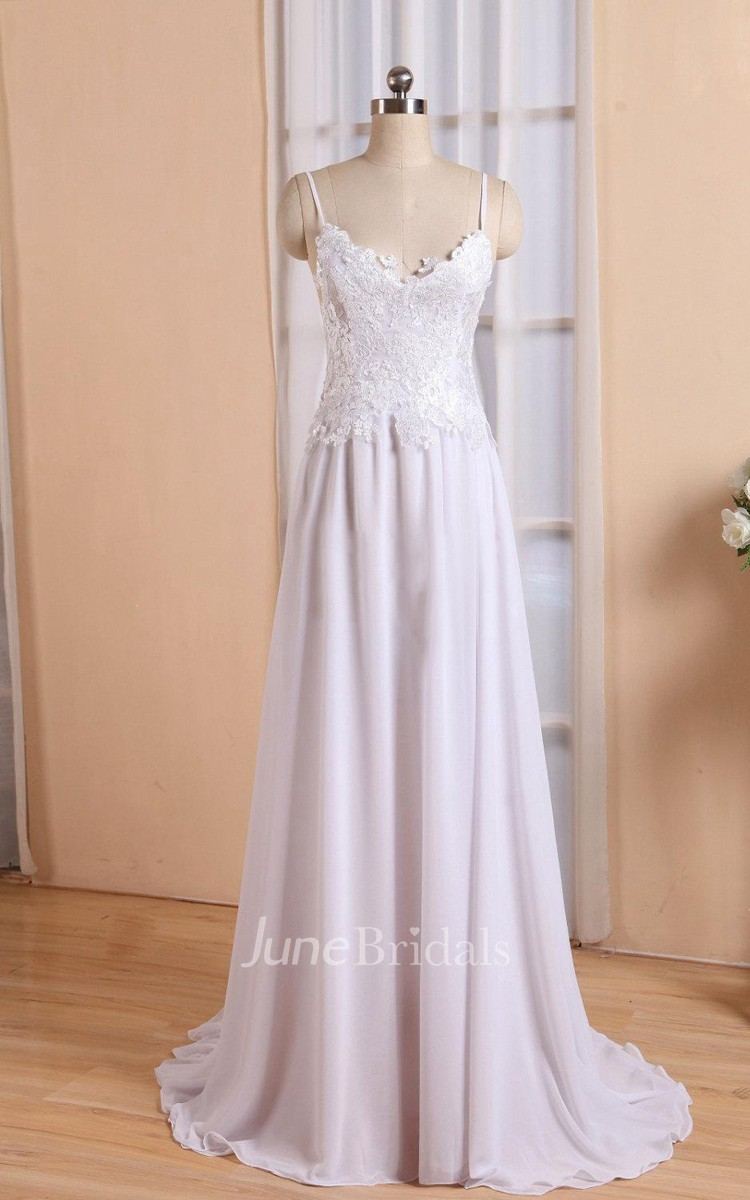 Spaghetti Neck Backless Sheath Long Chiffon Wedding Dress