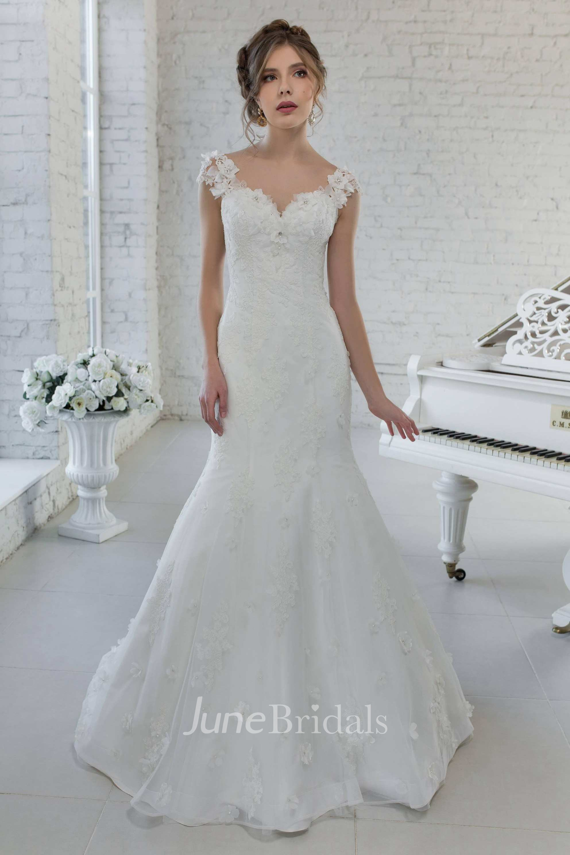 d48595dbff01 Cap-Sleeve V-Neck Mermaid Floral Wedding Dress With Illusion Back And Sweep  Train - June Bridals