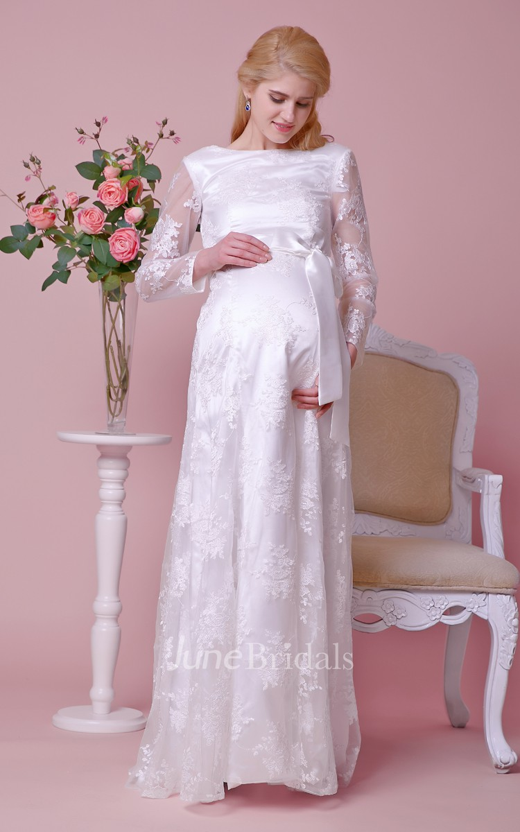 Bateau neck long sleeved lace maternity wedding dress with for Maternity wedding dresses under 100