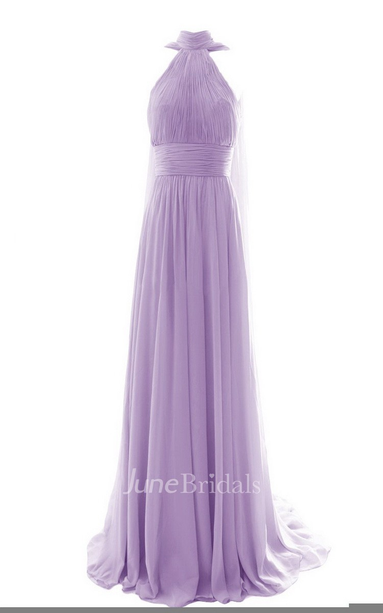 High neck long chiffon dress with pleats june bridals for Cheap lavender wedding dresses
