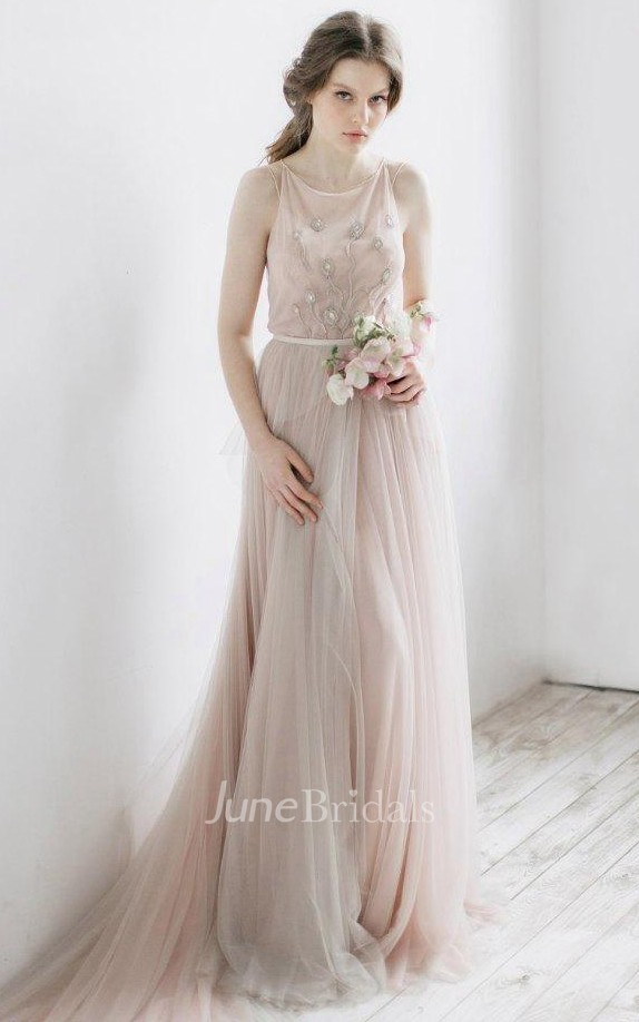 ethereal wedding dress ethereal tulle dress with pleats and illusion back june 3935