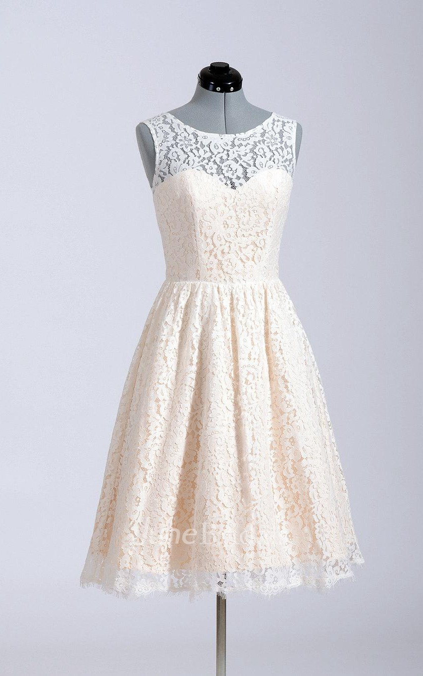 Cute short a line lace wedding dress simple style june for Short red and white wedding dresses