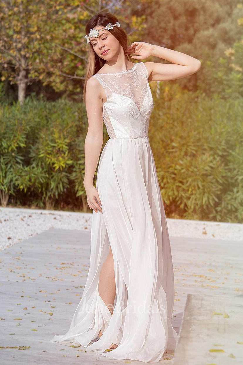 Bateau Sleeveless Split Front Lace Chiffon Backless
