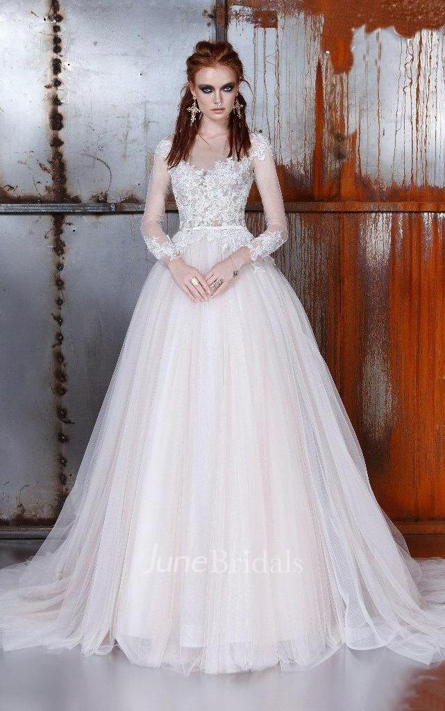 A Line Ball Gown Bell Long Sleeve Weddig Dress June Bridals