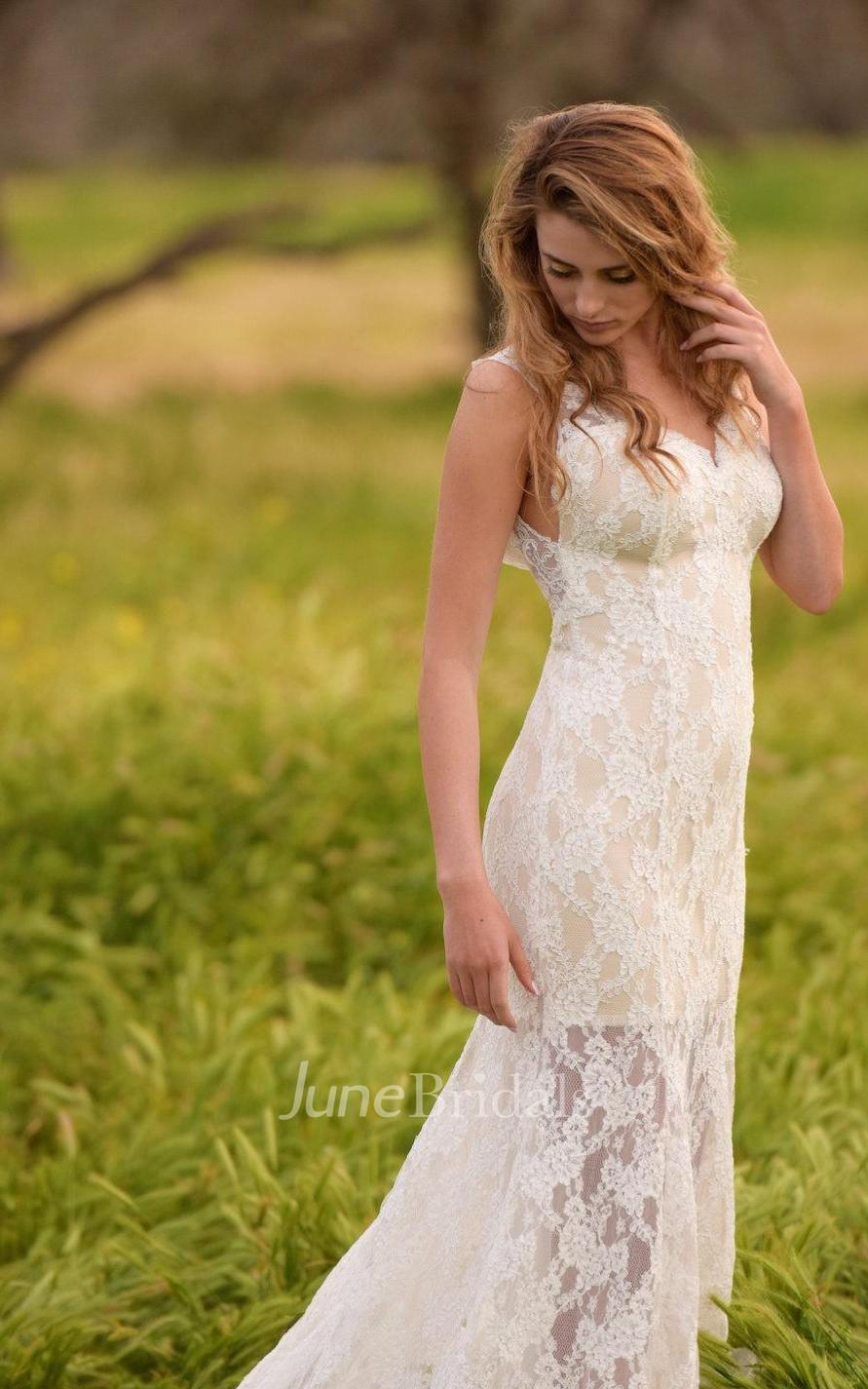 Trumpet wedding beach wedding low back wedding lace ivory for Beach wedding dress low back