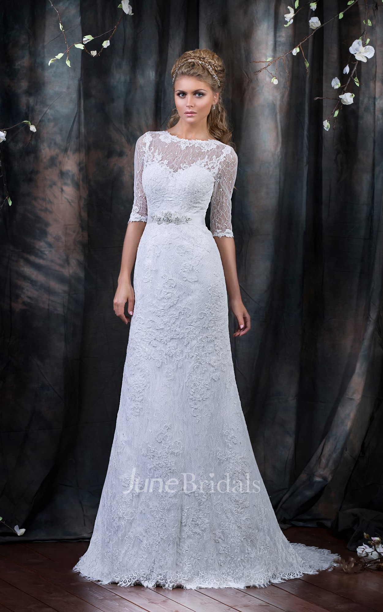 8b5ce62b3abe A-Line Long Bateau Half-Sleeve Low-V-Back Lace Dress With Beading And  Ribbon - June Bridals