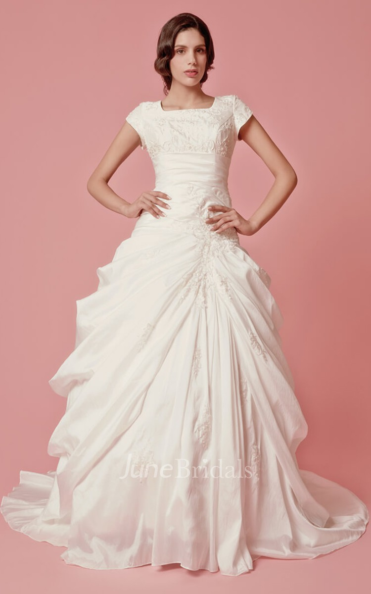 Vintage Short Sleeve Ball Gown Wedding Dress June Bridals