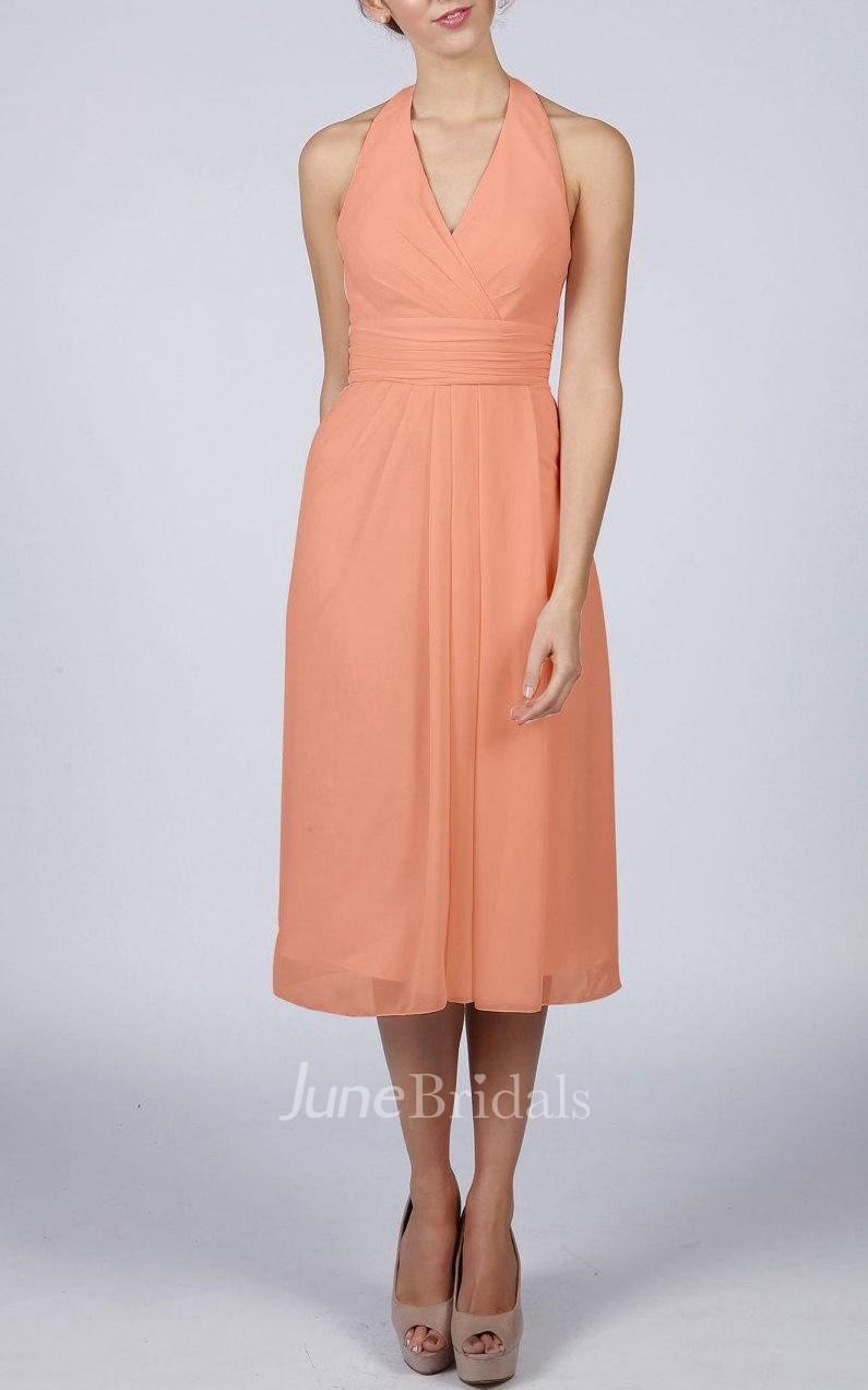 Halter V Neck Knee Length Dress With Zipper Back June