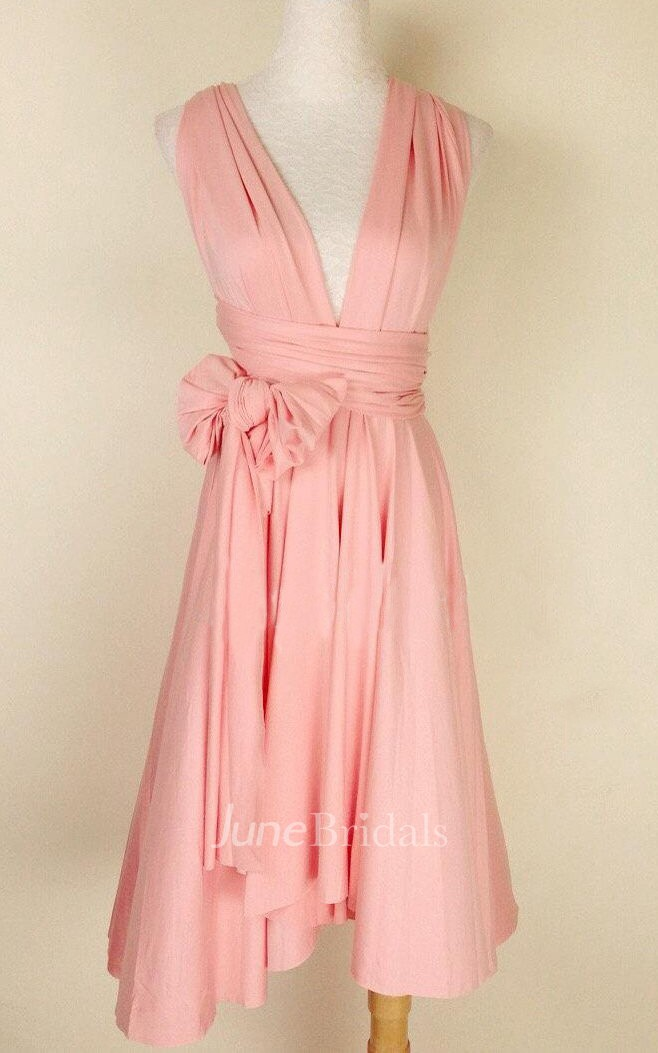 Infinity Peach Pink Knee Length Wrap Convertible Dress