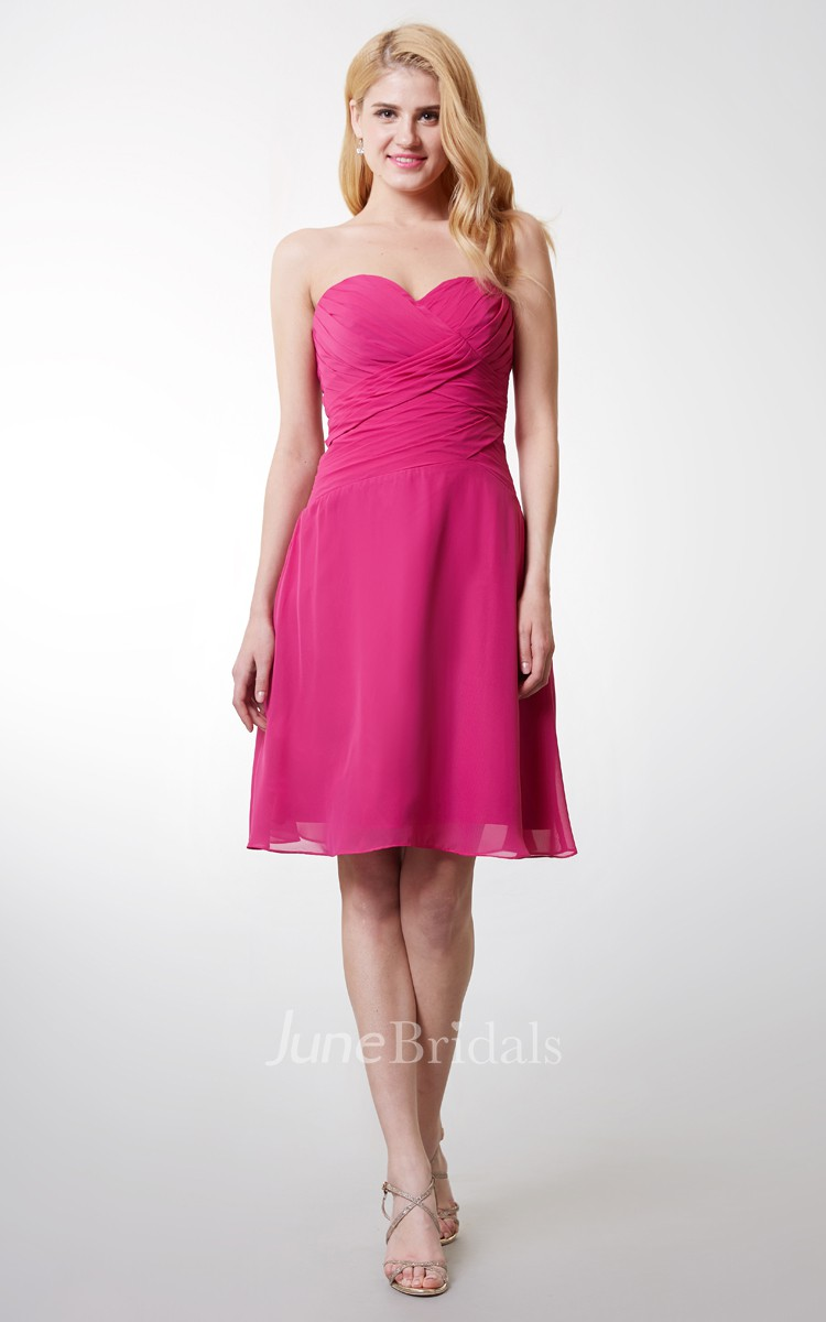 Sweetheart Ruched Short Chiffon Dress With Backless - June Bridals
