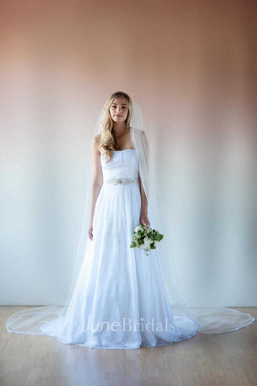 Modern Vintage Strapless And Beaded Lace Wedding Bridal