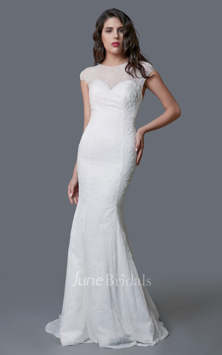 Stunning long lace sheath dress with illusion back june for Cheap sheath wedding dresses