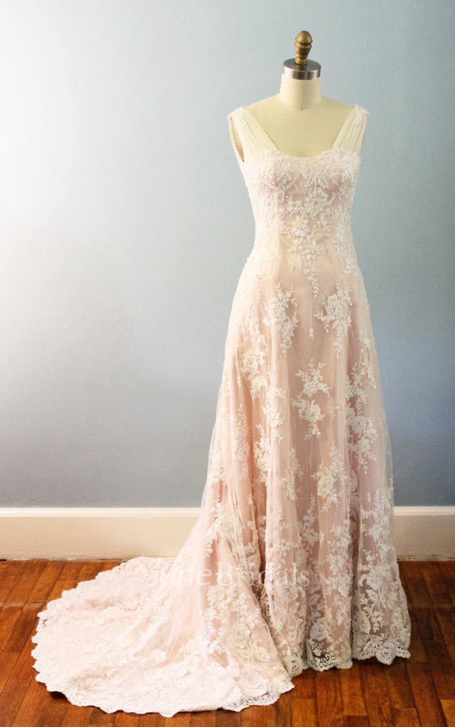 A line lace satin weddig dress with draping beading june for Cheap vintage style wedding dresses