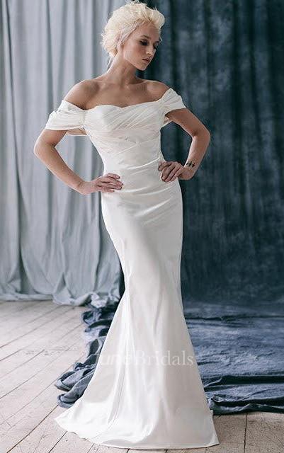 Off shoulder fit and flare satin wedding dress with for Off the shoulder satin wedding dress