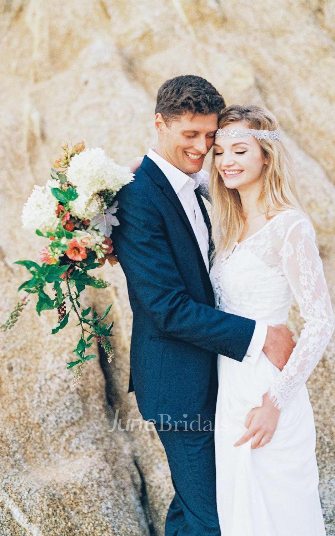 Long sleeve lace topper a simple white boho lace topper for Long sleeve wedding dress topper