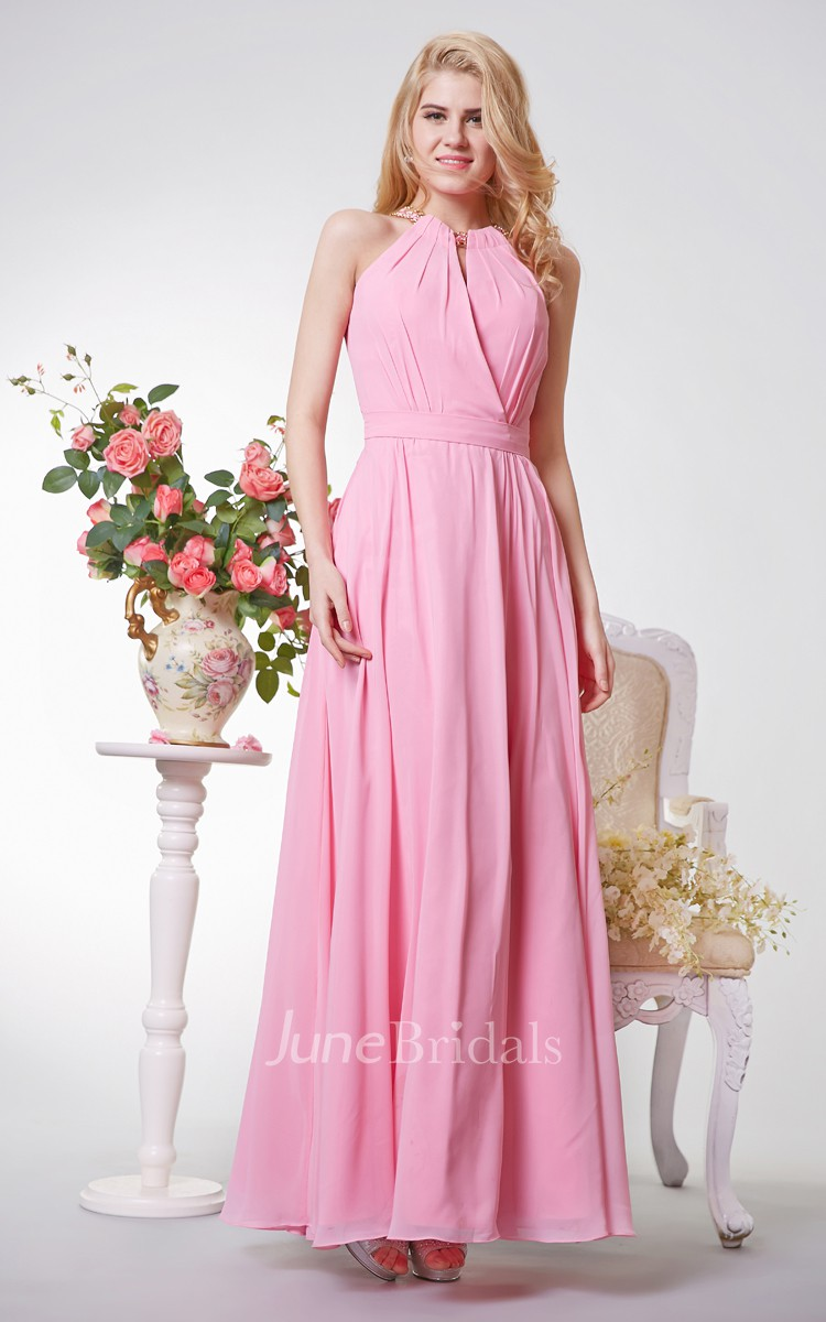 Sleeveless Long Chiffon Dress With Jewel Neckline - June Bridals