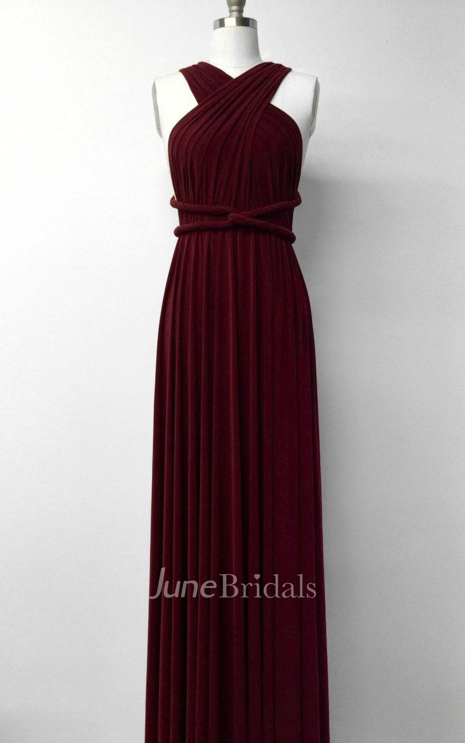 Burgundy Wine Red Long Floor Length Ball Gown Infinity