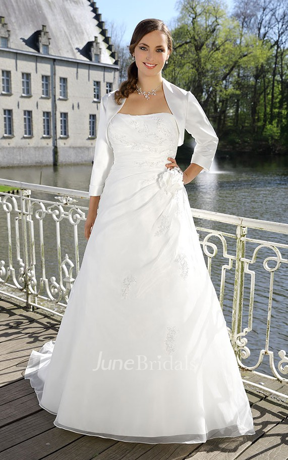A Line Long Strapless Long Sleeve Satin Cape Draping
