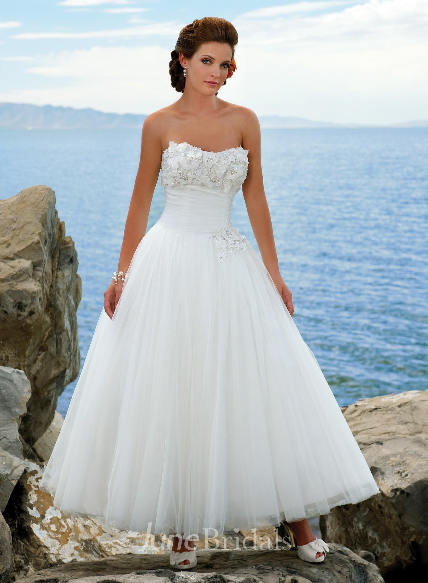 A line strapless tulle wedding dress june bridals for Wedding dress shops in dc