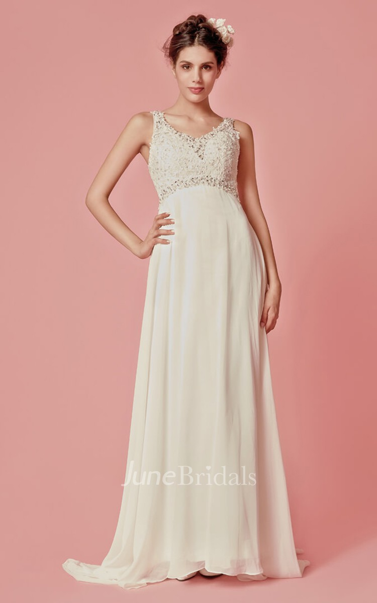 Mands Dresses For A Wedding : Sleeveless v neck chiffon long dress with lace bodice
