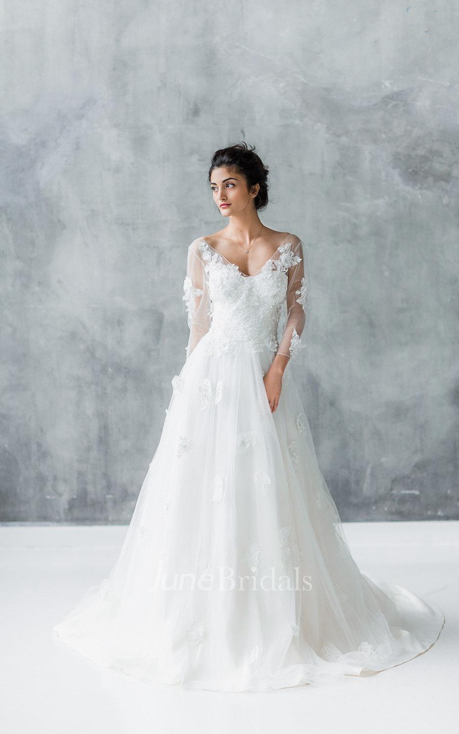 Long Sleeve Tulle Lace Weddig Dress With Beading June