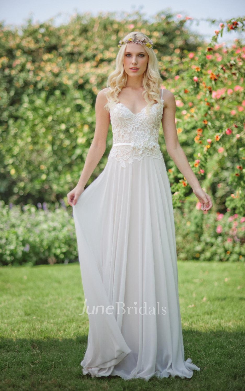 Chiffon lace weddig dress with beading flower lace up back for Sexy summer wedding dress