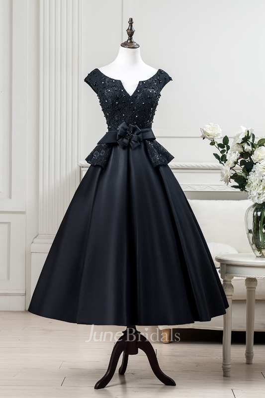 Cap Sleeve Pleated Lace Bodice Satin Tea Length Dress With