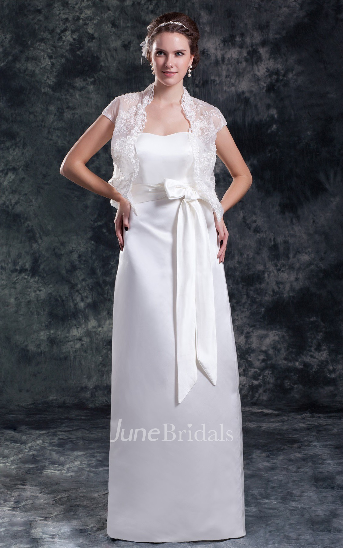 Satin Sheath Floor Length Dress With Lace Jacket And