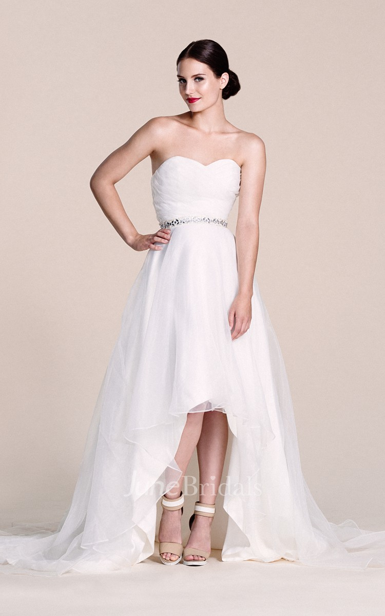 Sweetheart a line high low dress with sequins and pleats for Cheap wedding dress shops