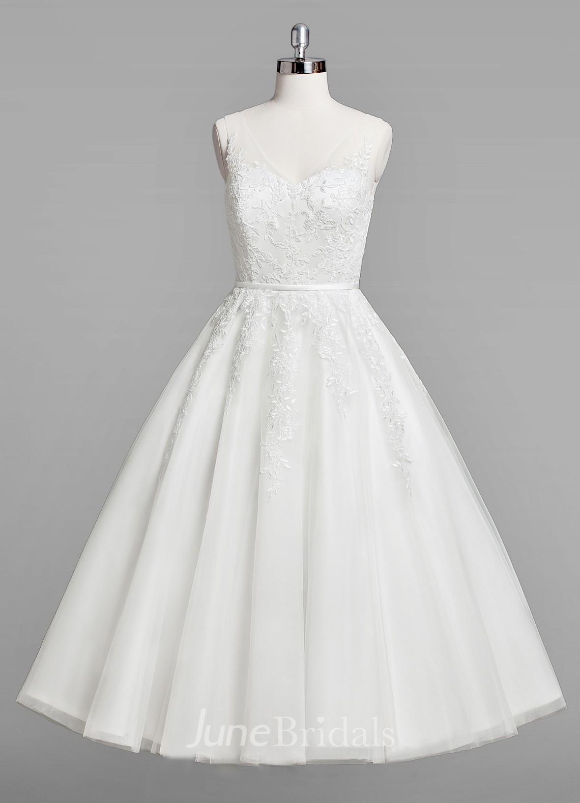 V neck sleeveless a line lace tea length wedding dress for V neck tea length wedding dress